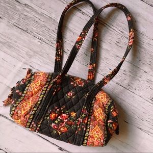 Vera Bradley brown and pink floral purse 10 inch